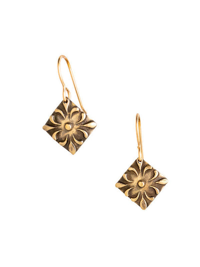Fleur Ellipse Bronze Earrings