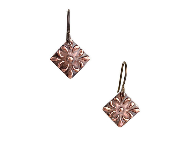 Fleur Ellipse Copper Earrings