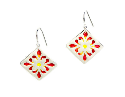 Fleur Ellipse Enameled Silver Earrings
