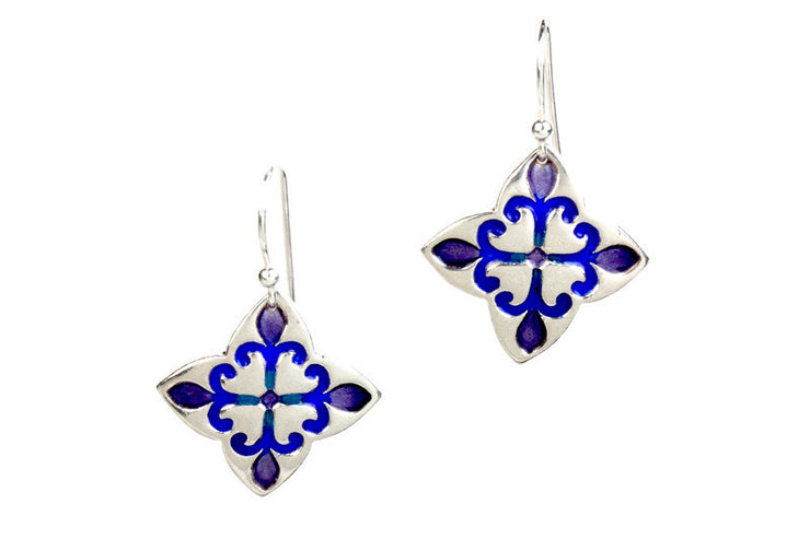 Fleur Flowers Enameled Silver Earrings