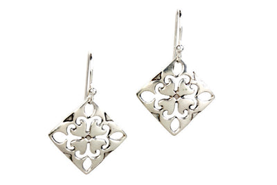 Fleur De Lis Silver Earrings
