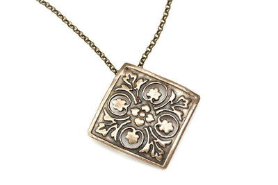 Flowers Raised Bronze Pendant