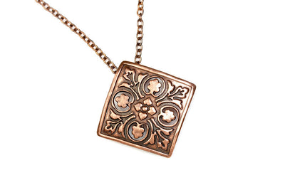 Flowers Raised Copper Pendant