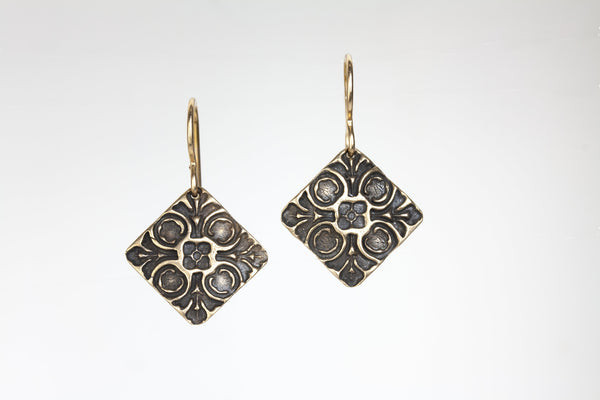 Flowers Impressed Bronze Earrings