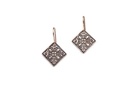 Flowers Raised Bronze Earrings