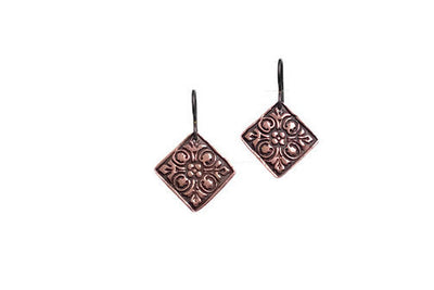 Flowers Raised Copper Earrings
