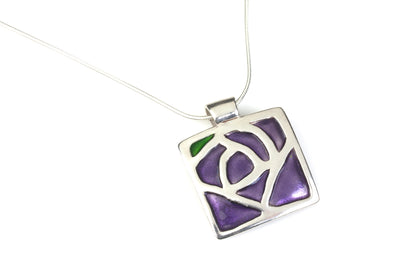 Glasgow Rose Enameled Pendant