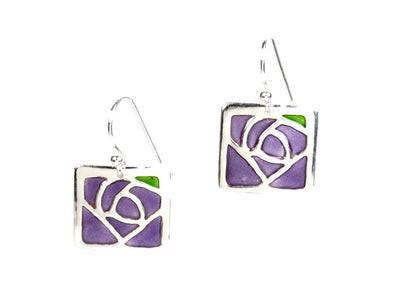 Glasgow Rose Enameled Earrings