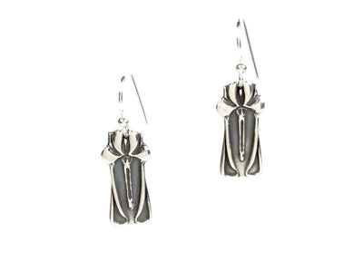 Iris Style Silver Earrings