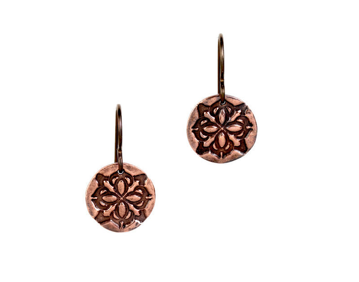 Medallion Round Copper Earrings