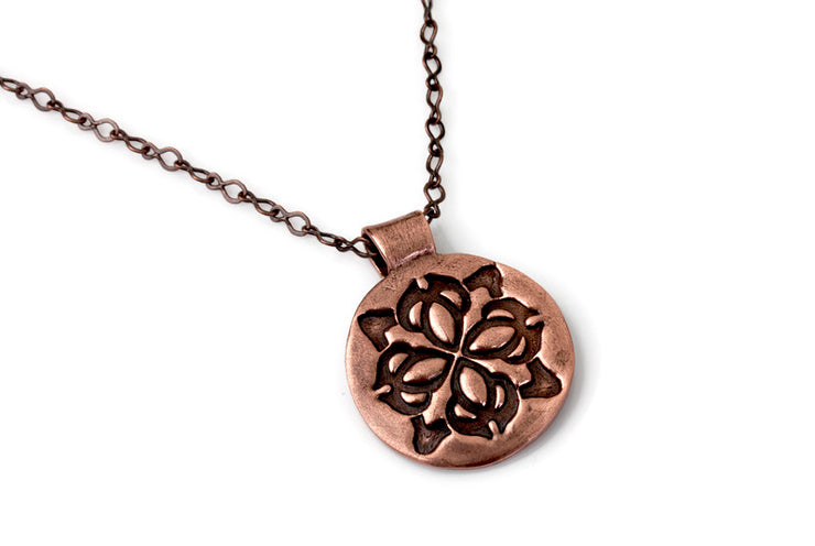 Medallion Round Copper Pendant