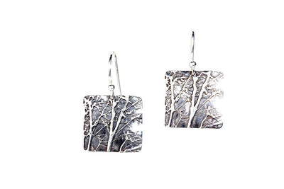 Middle Tree Silver Earrings