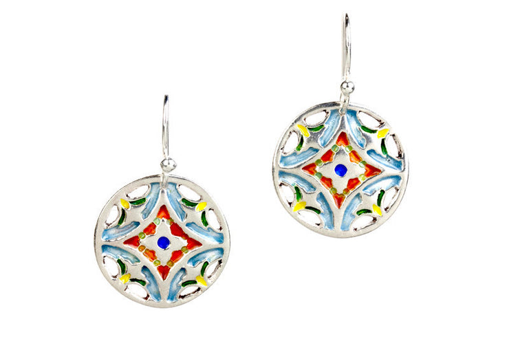 Serendipity Enameled Silver Earrings