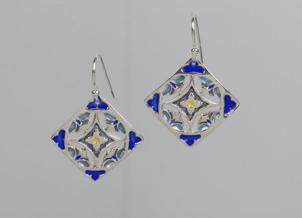 Serenity Enameled Silver Earrings