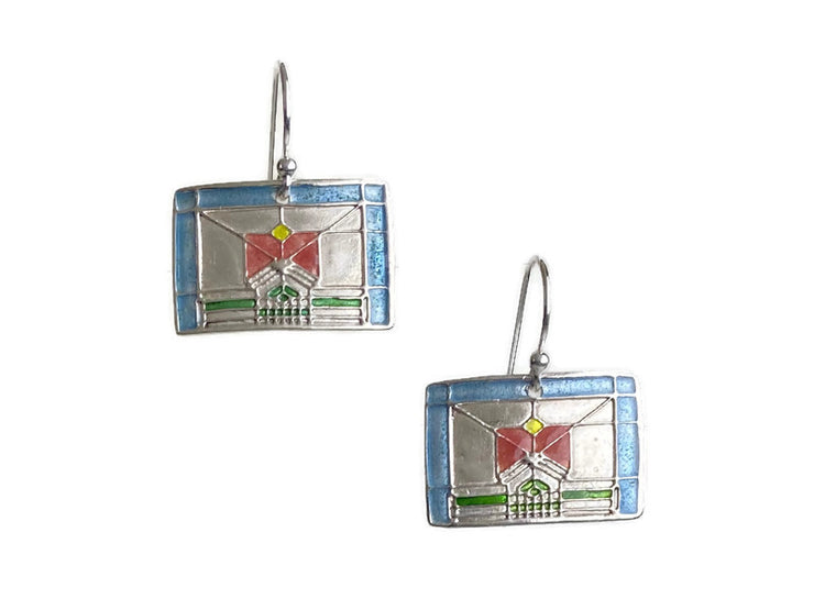 Stained Glass Rose Earrings