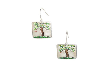 Tree Earrings Enameled
