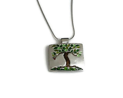 Tree Pendant Enameled