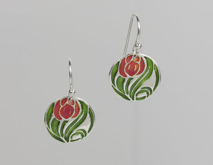 Tulip Enameled Earrings