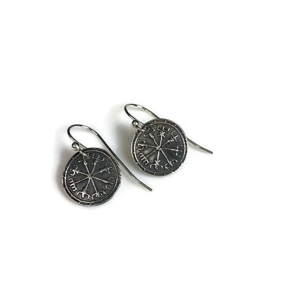 Viking Compass Vegvisir Silver Earrings