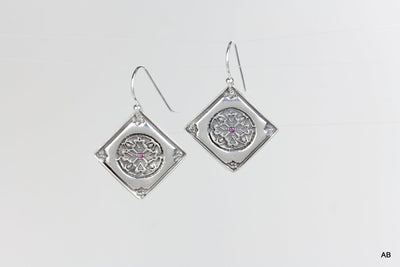 Encompassing Silver Earrings w/ Rubys