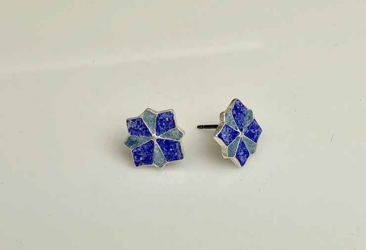 Pinwheel Enameled Silver Post Earrings