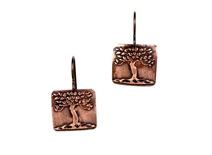 Tree Earrings Copper
