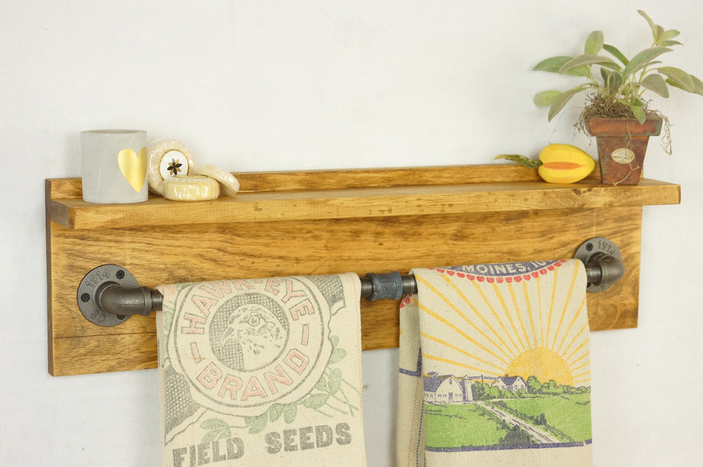 Twin Towel Farmhouse Bathroom Shelf