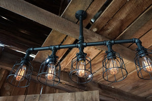 Lattitude Lighting With Wire Cages Finished in Matte Black