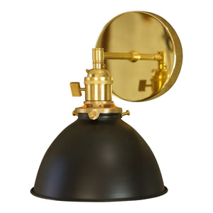 Coastal Cottage 1-Light Brass Wall Sconce, Black Lamp Shade