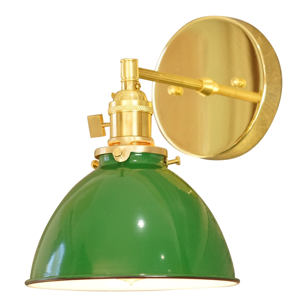 Coastal Cottage 1-Light Brass Wall Sconce, Green Lamp Shade