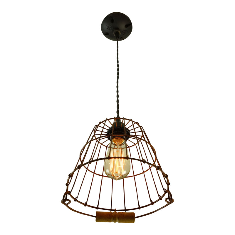 Rusty Red, Wire Cage Pendant Light