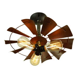Rusty and Rustic 3-Bulb Fan Light