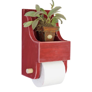 Farmhouse Style Toilet Paper Holder with Storage Shelf