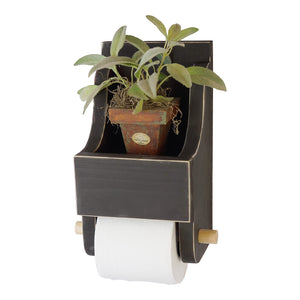 Farmhouse Style Toilet Paper Holder with Storage Shelf Finished in Matte Black