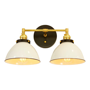 Modern Farmhouse 2-Shade Vanity Light, Brass Fittings