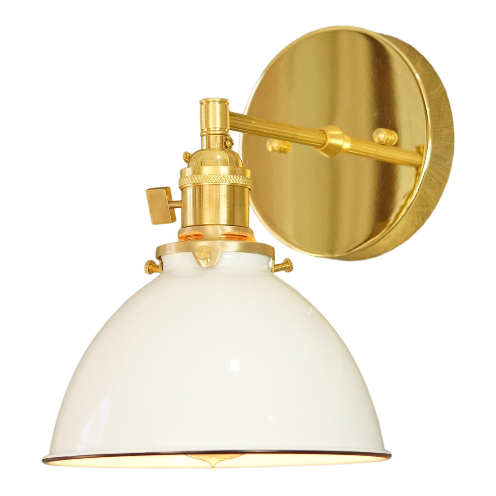 North Shore 1-Light Brass Wall Sconce, White Lamp Shade