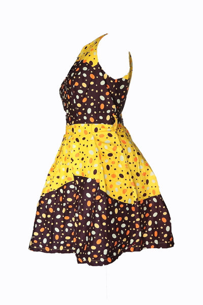 Sleveless polka dots African Dress