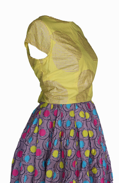 African Circle Skirt with mustard top