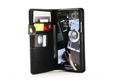 Slim Black iPhone X Leather Wallet Case