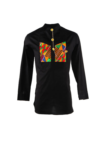 Black Etibor African Men's Shirt