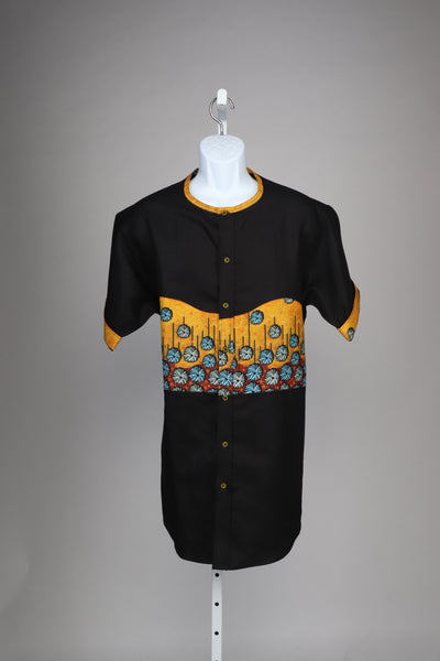 Black and orange African Style Men's Shirt