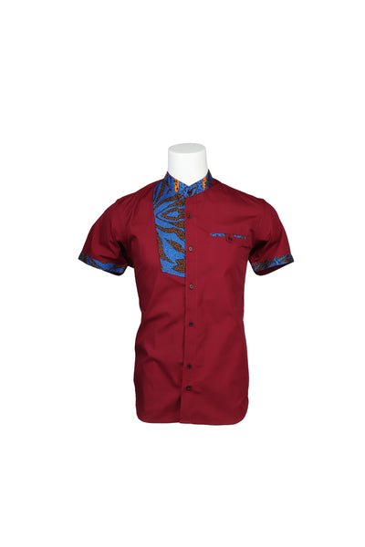 Burgundy Color African style Men's Shirt- Fitted African Shirt