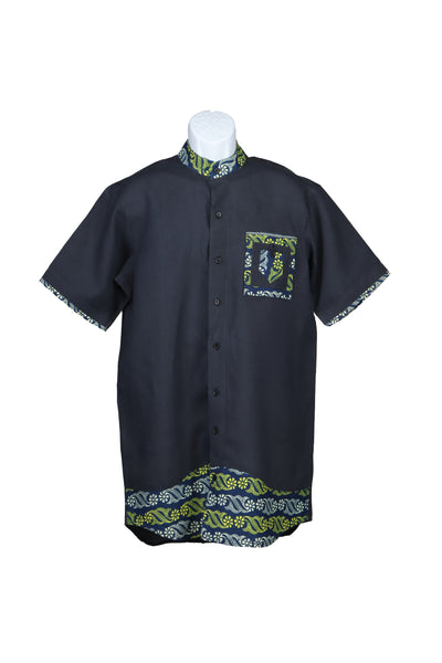 Loose Fit Band Collar African Men's Shirt