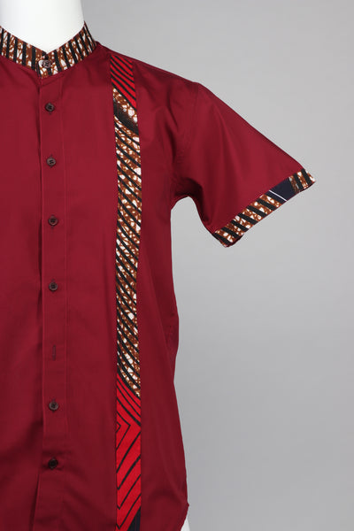 Modern Fit Band Collar African Men's Shirt