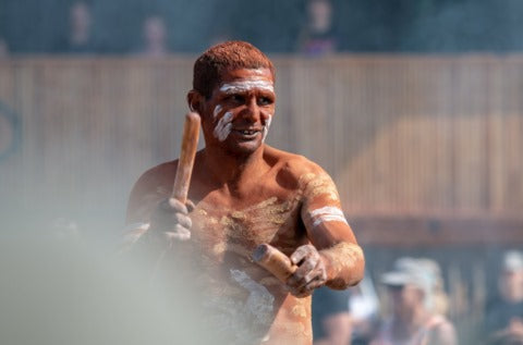 Linton Burgess, Palawa Man, during the breathtaking Newkind Welcome To Country