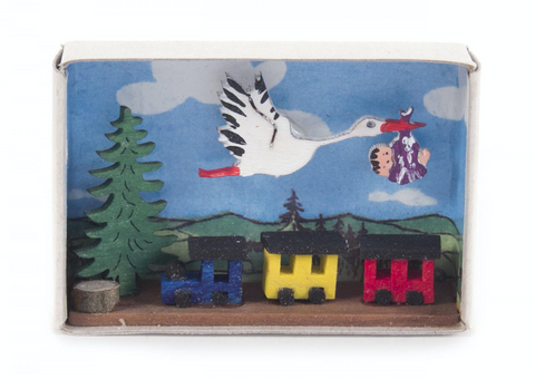 028/167 - Matchbox Scene: Stork Carrying New Baby
