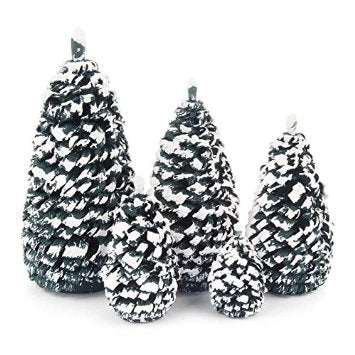 081/016G - Set of 5 Snowy Green Christmas Trees