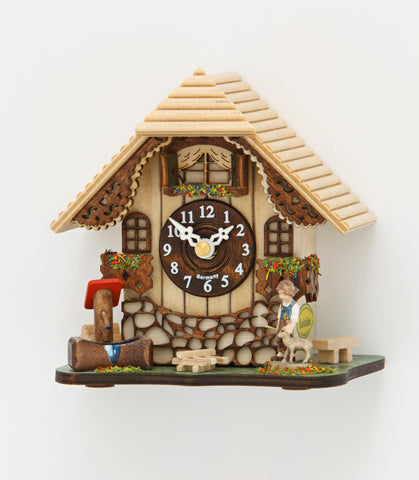Novelty Quartz Tabletop Chalet w/ Boy