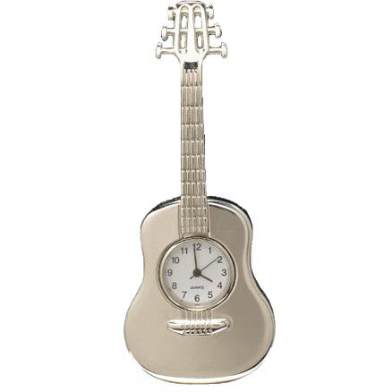 Silver Steel String Guitar Clock