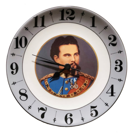 Porcelain Plate Clock with King Ludwig
